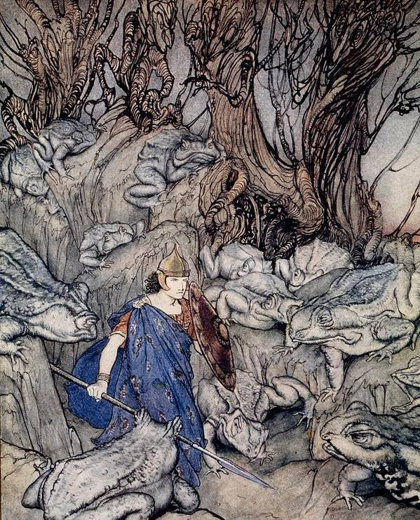 Fairy Tale; Fairy Story; Magic; Frogs; Toad; Frog; Forest; Woods; Spear; Armor; Helmet; Prince; Shield; Irish Mythology; Male; Bravery; Courage; Myth; Legend Art Print featuring the drawing In The Forked Glen Into Which He Slipped At Night-fall He Was Surrounded By Giant Toads by Arthur Rackham