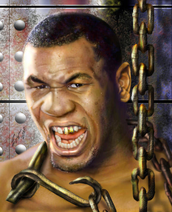 Mike Tyson Art Print featuring the painting Iron Mike Tyson-no Blood No Glory 1a by Reggie Duffie