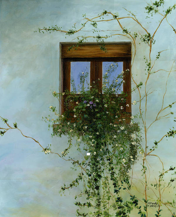 Italian Original Oil Painting Canvas Art Flowers Floral Window Box Italy Wall Vines Garden Wooden Window Classical Art Artist Cecilia Brendel Art Print featuring the painting Italian Flower Window by Cecilia Brendel