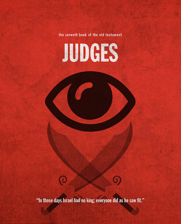 Judges Art Print featuring the mixed media Judges Books Of The Bible Series Old Testament Minimal Poster Art Number 7 by Design Turnpike