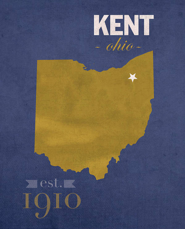 Ohio On State Map.Kent State University Golden Flashes Kent Ohio College Town State