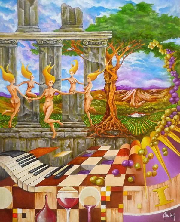Paysage Art Print featuring the painting Les Amours Hallucines De La Vigne Et Du Pin Parasol by Didier Albo