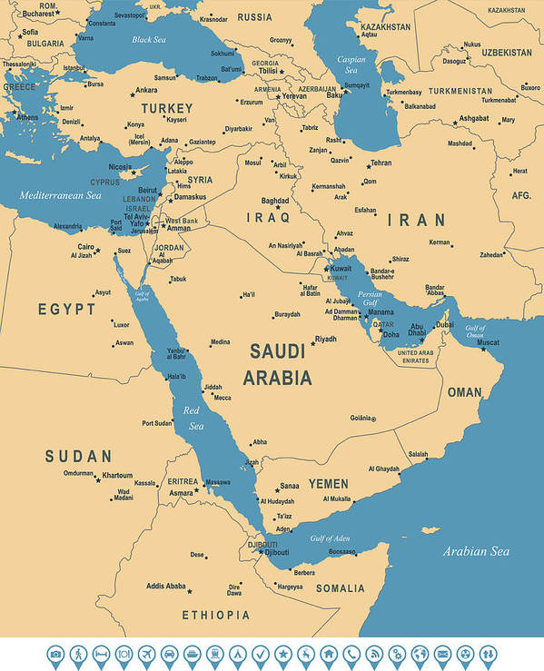 Tel Aviv Middle East Map.Map Of Middle East Art Print By Pop Jop