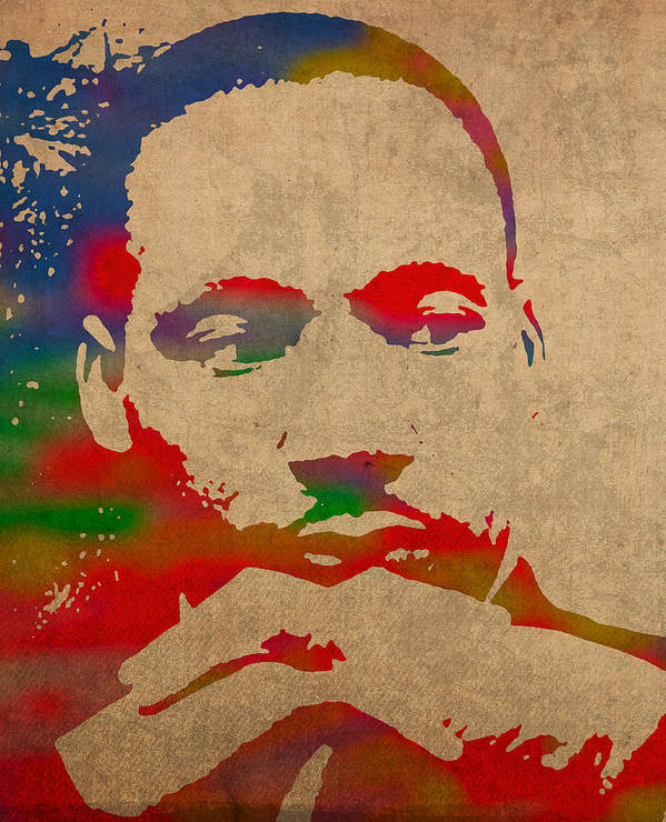 Martin Luther King Jr Watercolor Portrait On Worn Distressed Canvas Art Print featuring the mixed media Martin Luther King Jr Watercolor Portrait On Worn Distressed Canvas by Design Turnpike
