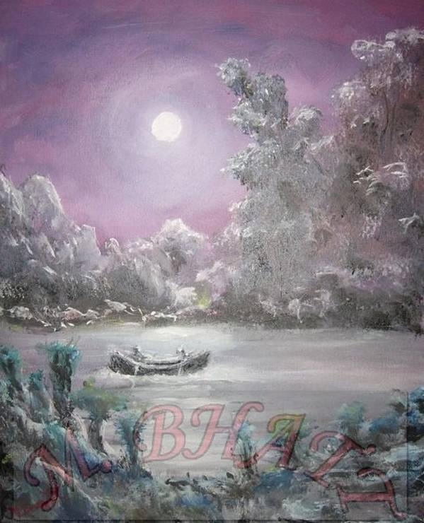 Moon Full Moon Art Print featuring the painting Moonlight by M Bhatt