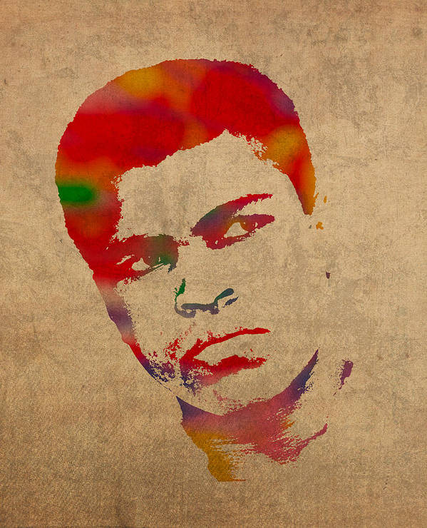 Muhammad Ali Boxer Sports The Greatest Watercolor Portrait On Worn Distressed Canvas Art Print featuring the mixed media Muhammad Ali Watercolor Portrait On Worn Distressed Canvas by Design Turnpike