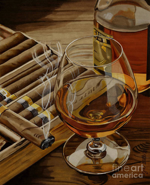 Alcohol Art Print featuring the drawing Nightcap by Cory Still
