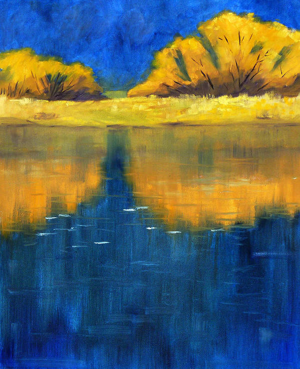 Nisqually River Art Print featuring the painting Nisqually Reflection by Nancy Merkle