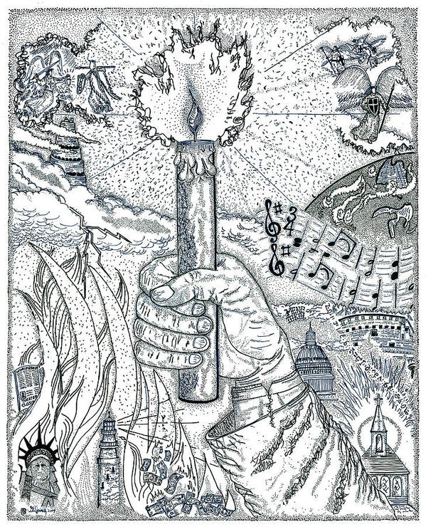 Christian Print featuring the drawing One Candle by Glenn McCarthy Art and Photography