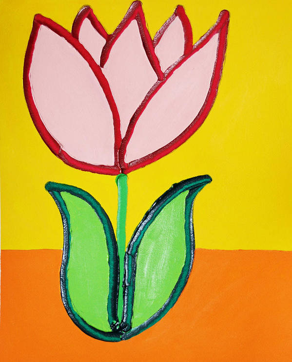 Tulip Art Print featuring the painting Pink Tulip by Matthew Brzostoski