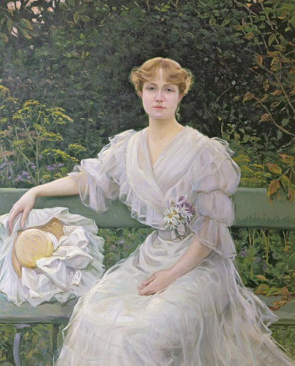 White Dress Art Print featuring the painting Portrait Of Marguerite Durand by Jules Cayron