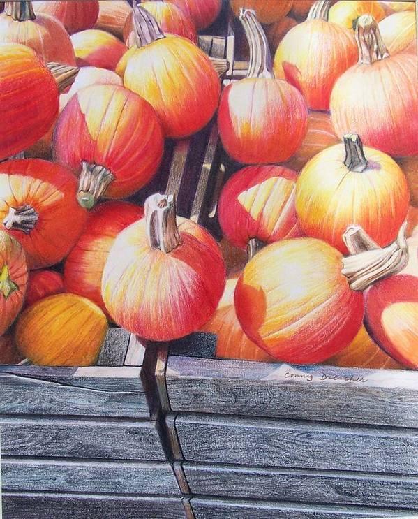 Pumpkins Art Print featuring the painting Pumpkins by Constance Drescher