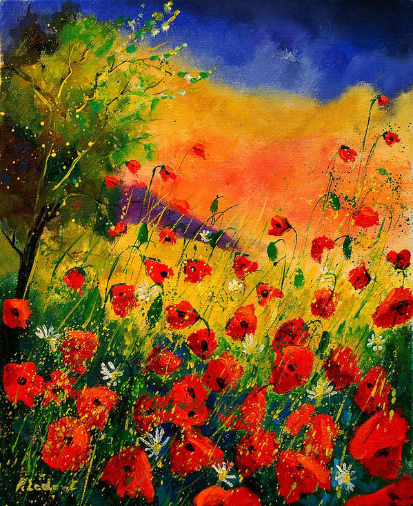 Poppies Art Print featuring the painting Red Poppies 45 by Pol Ledent