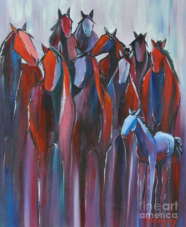 Horse Art Print featuring the painting Regiment by Cher Devereaux