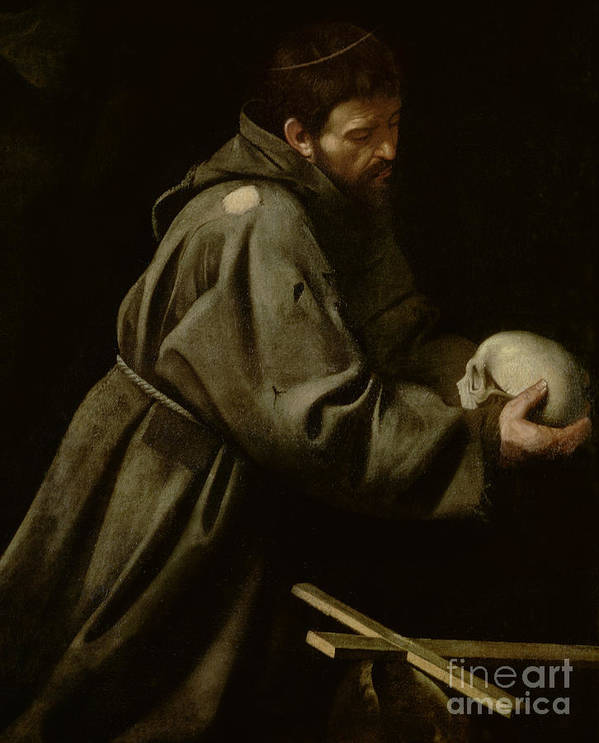 Monk Art Print featuring the painting Saint Francis In Meditation by Michelangelo Merisi da Caravaggio