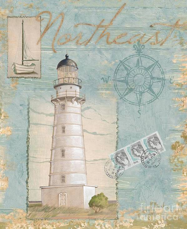 Cape Hatteras Art Print featuring the painting Seacoast Lighthouse II by Paul Brent