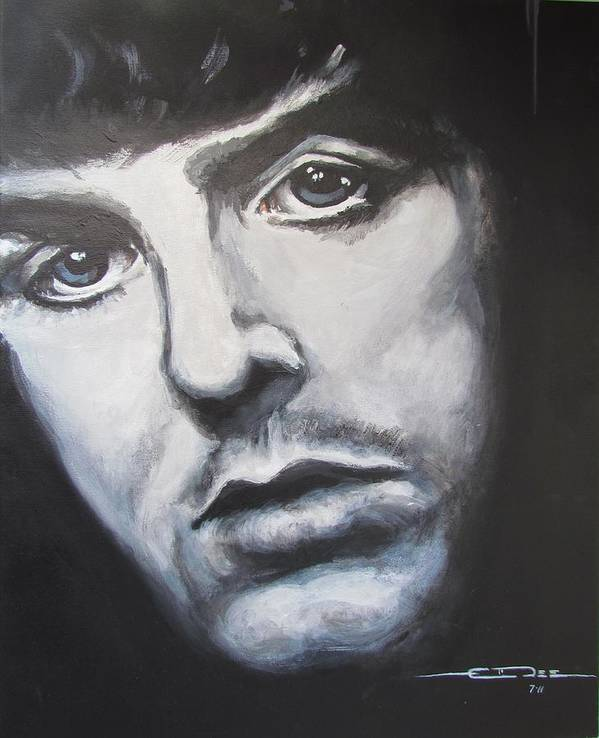 Celebrity Portrait Paul Mccartney During The Beatles Era. Art Print featuring the painting Sir Paul Mccartney by Eric Dee