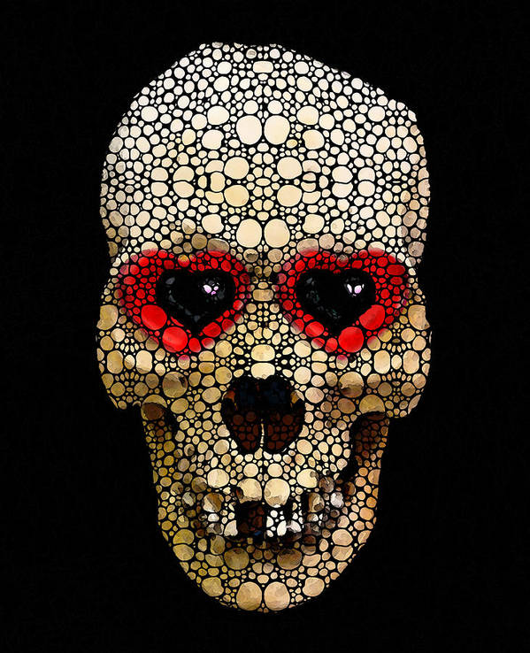 Skull Art Print featuring the painting Skull Art - Day Of The Dead 3 Stone Rock'd by Sharon Cummings