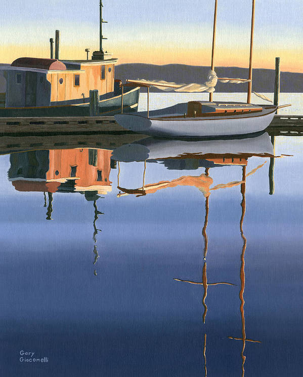 Boat Art Print featuring the painting South Harbour Reflections by Gary Giacomelli