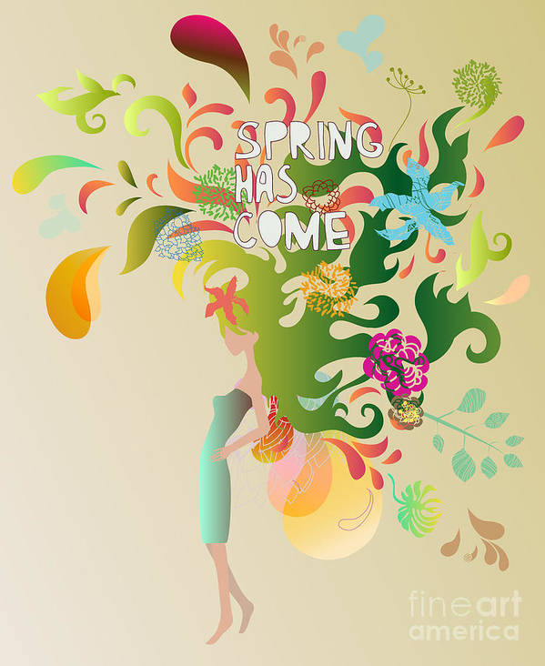 Dress Art Print featuring the digital art Spring Floral Girl Illustration by Run4it