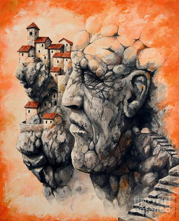 Tale City Print featuring the painting The Lost City - The Sentinel by Emerico Imre Toth
