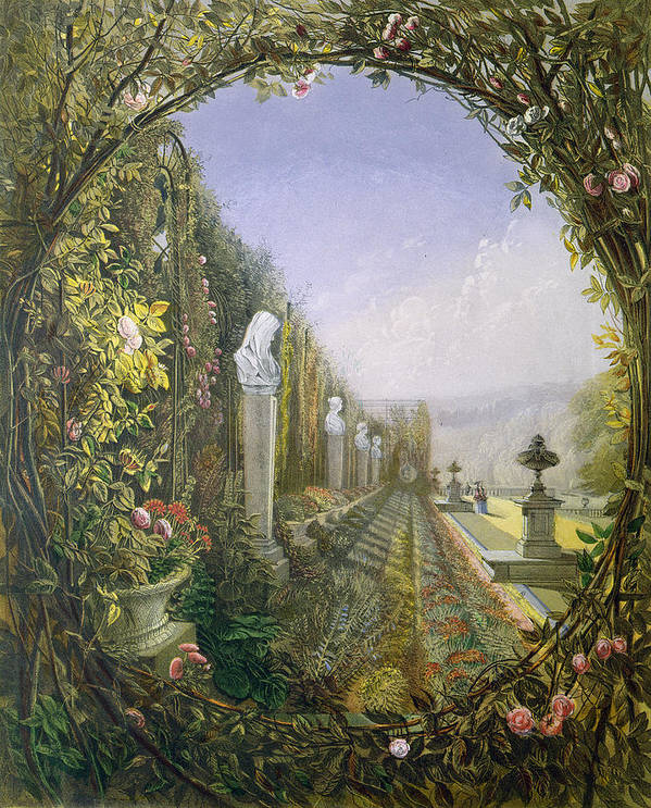 English Garden Art Print featuring the painting The Trellis Window Trengtham Hall Gardens by E Adveno Brooke