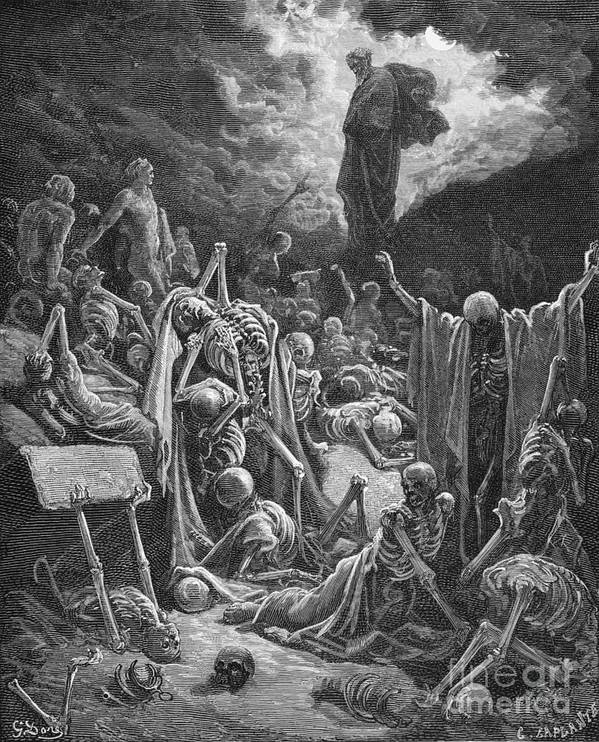 Prophet Print featuring the painting The Vision Of The Valley Of Dry Bones by Gustave Dore