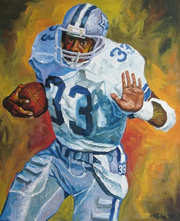 Tony Dorsett Art Print featuring the painting Tony Dorsett - Dallas Cowboys by Mike Rabe