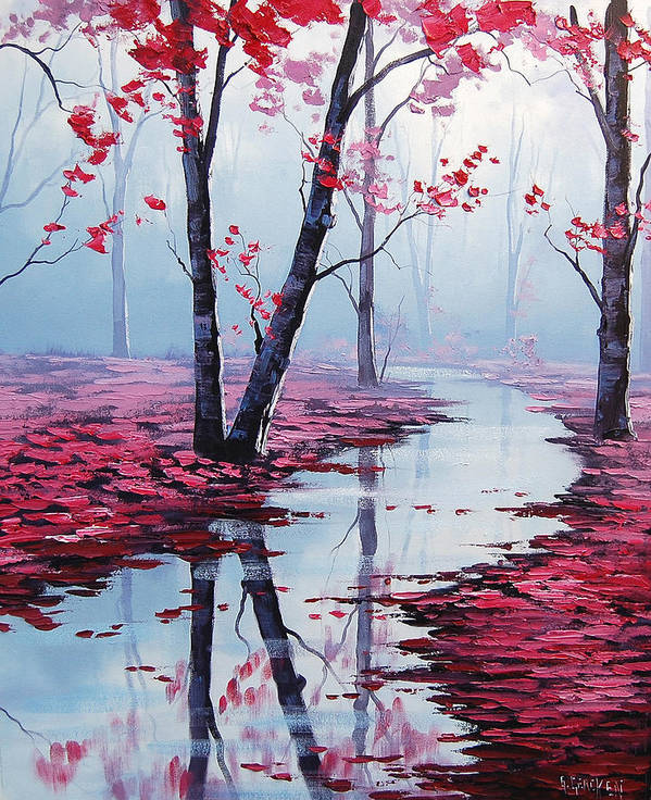 Pink Trees Art Print featuring the painting Touch Of Heaven by Graham Gercken