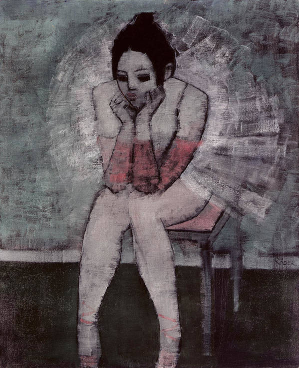 Ballerina; Ballet; Dancer; Seated Print featuring the painting Tutu by Endre Roder