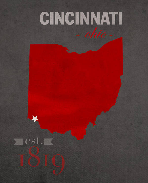 University Of Cincinnati Bearcats College Town Ohio State Map Poster on
