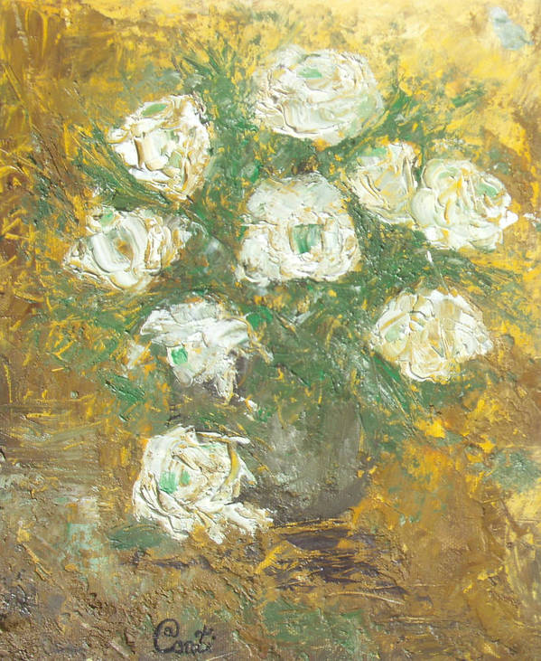Wax Art Print featuring the painting Waxen Roses by Aconti