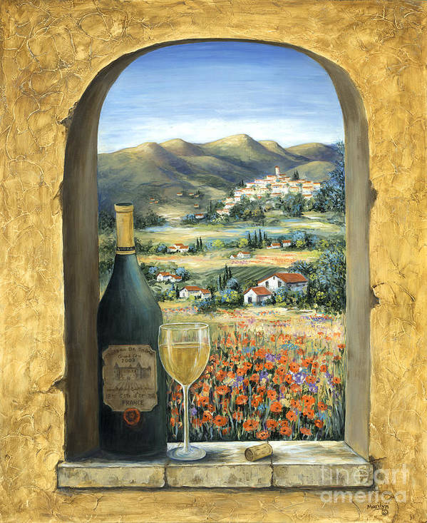Wine Art Print featuring the painting Wine And Poppies by Marilyn Dunlap