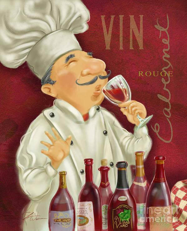 Waiter Art Print featuring the mixed media Wine Chef I by Shari Warren