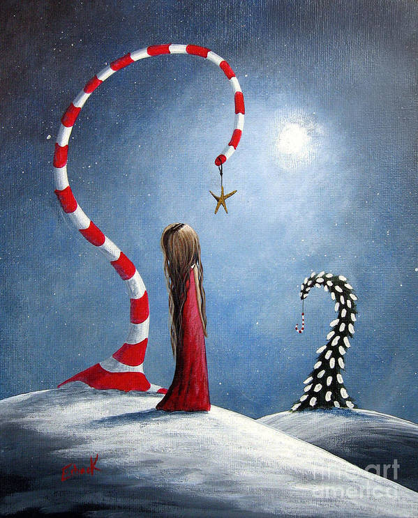Holiday Art Print featuring the painting Wishing Star By Shawna Erback by Erback Art