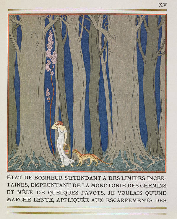 Forest Art Print featuring the painting Woman Followed By A Leopard by Georges Barbier