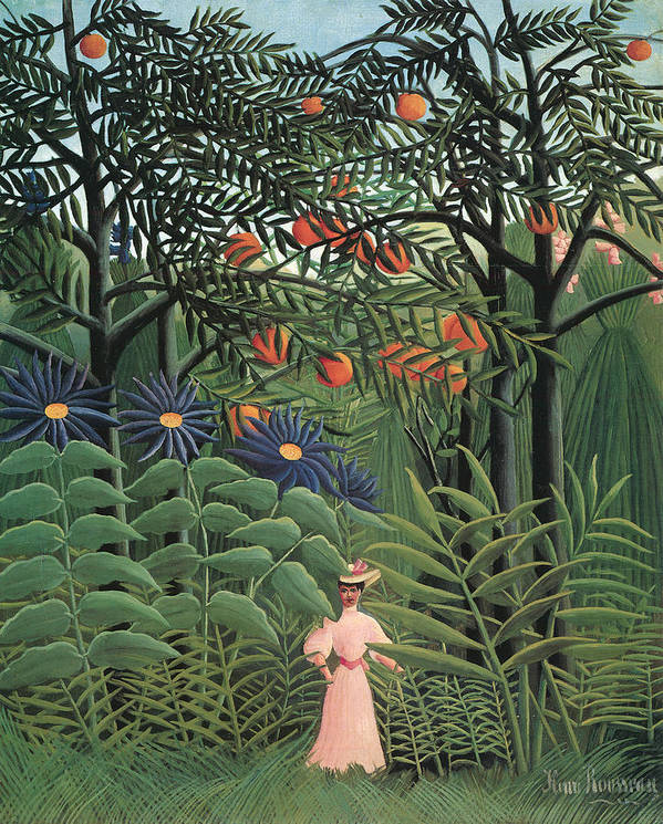 Henri Rousseau Print featuring the painting Woman Walking In An Exotic Forest by Henri Rousseau