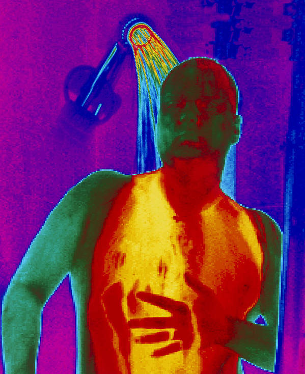 Thermogram Print featuring the photograph Thermogram Of A Man Taking A Shower by Dr. Arthur Tucker