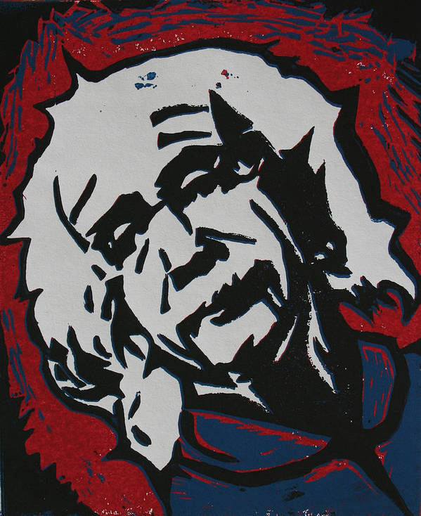 Lino Art Print featuring the drawing Einstein 2 by William Cauthern