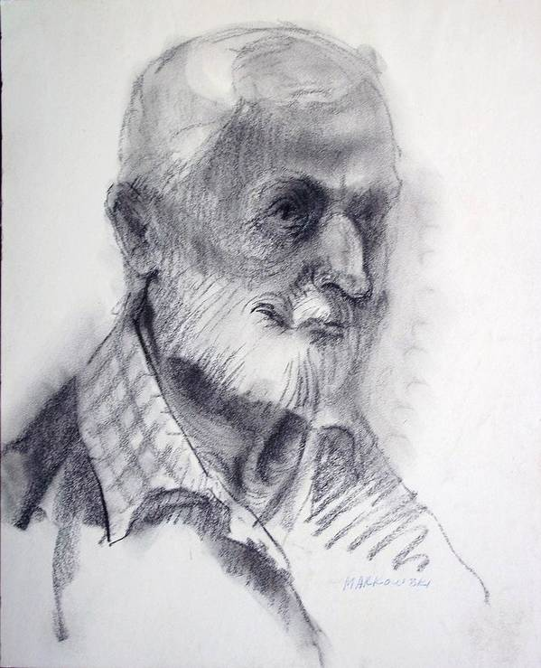 Man Art Print featuring the drawing A Man by Aileen Markowski