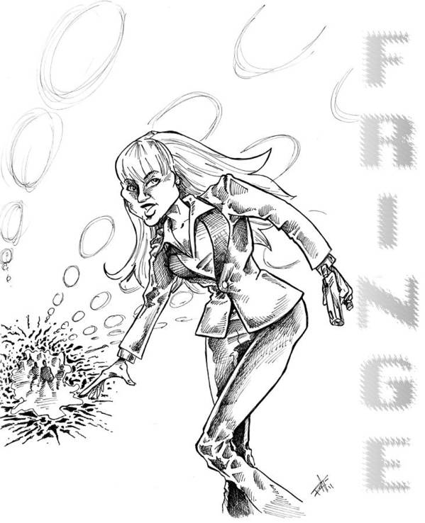 Fringe Alien Print featuring the drawing Agent Dunham by Big Mike Roate