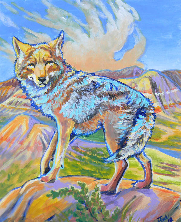 Coyote Print featuring the painting Badland Coyote by Jenn Cunningham