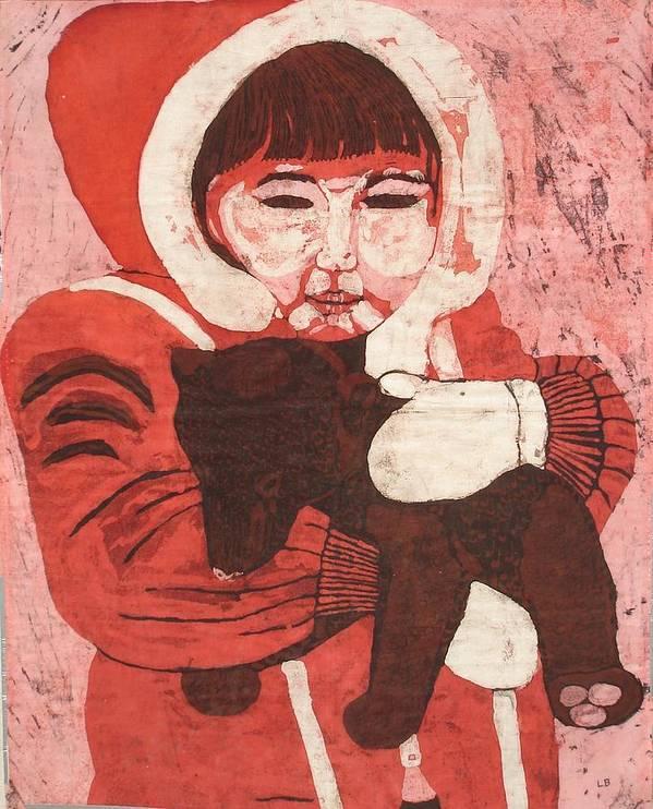 Fabric Art Print featuring the painting Batik -girl W Bear- by Lisa Kramer