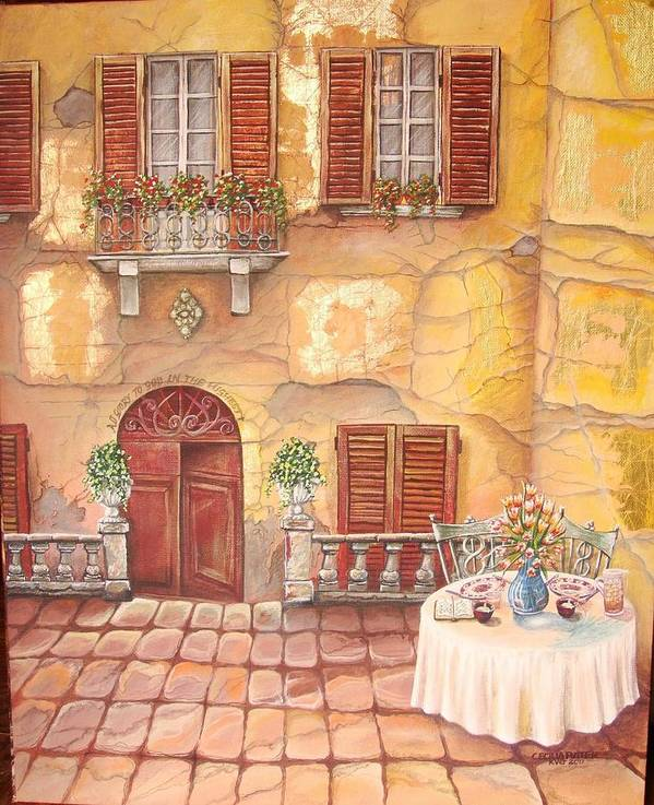 Inviting Lunch Table On A Stone Paved Sidewalk In Tuscany. Steps Leads Down To The Huge Solid Wooden Door Art Print featuring the painting Devoted by Cecilia Putter