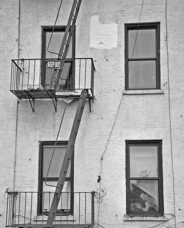 Black And White Art Print featuring the photograph Fire Escape by Tyler Estes
