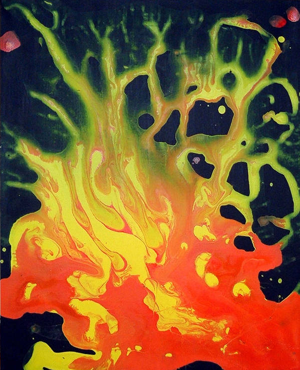 Art Print featuring the painting Fire Tree by Jim DuBois
