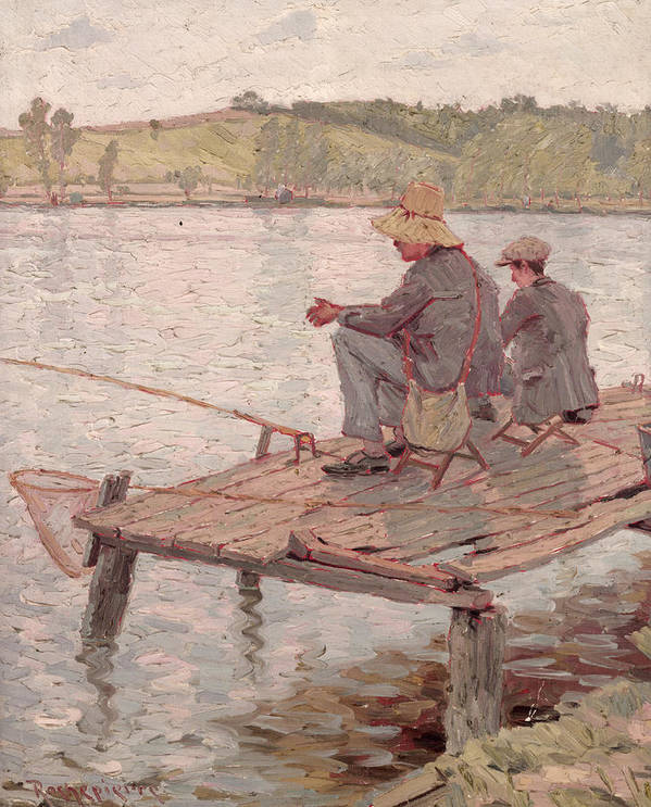 Fishermen (oil On Canvas) Print featuring the painting Fishermen by Pierre Roche