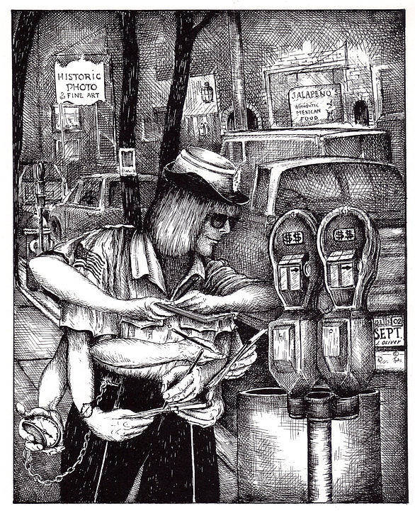 Gloucester Art Print featuring the drawing Gloucester Meter Maid by James Oliver