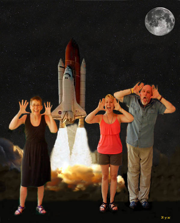 The Scream World Tour Space Shuttle Print featuring the mixed media Hoovler Family Scream by Eric Kempson