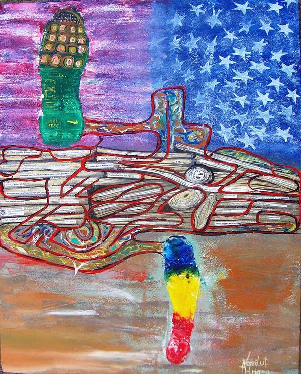 Immigration Art Print featuring the painting Immigration Step by Adriana Vasilut